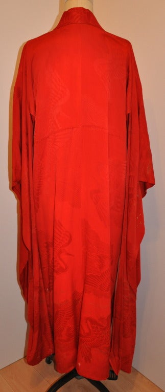 Authenic Hand-Painted With Gold Specks Fully-Lined Red Kimono 5