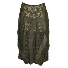 Junya Watanabe for Comme des Garcons Khaki Denim with Lace Deconstructed Skirt