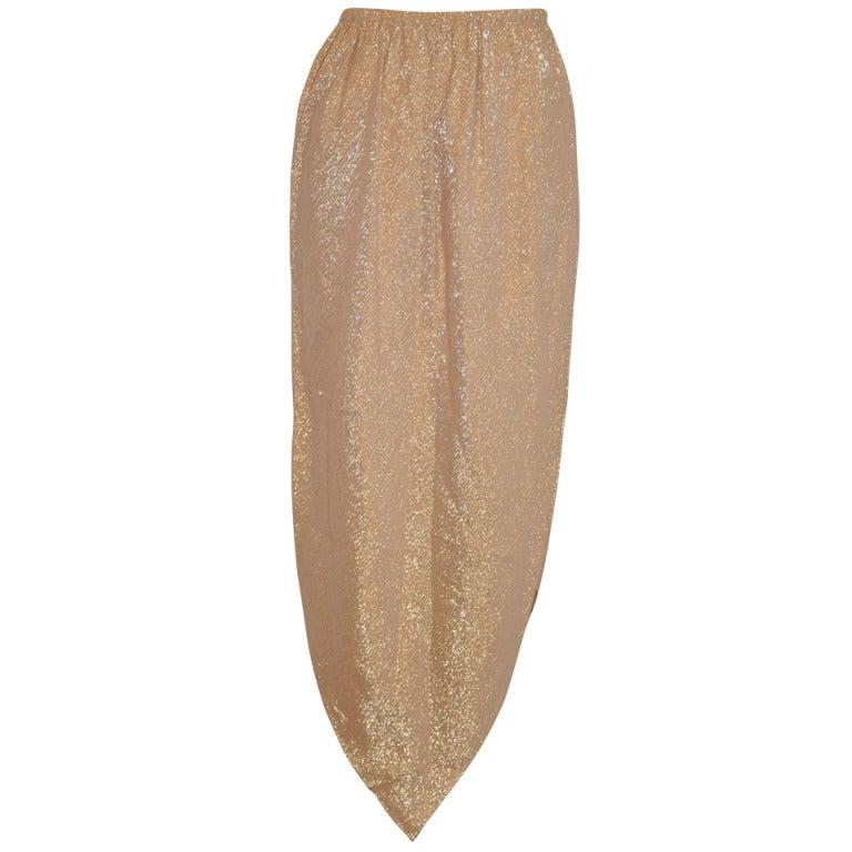 "Halston Metallic Gold Lame ""Point"" Evening Skirt 1"