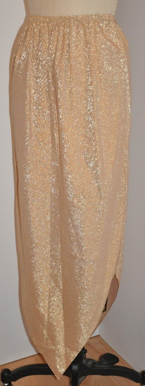 "Halston Metallic Gold Lame ""Point"" Evening Skirt 2"