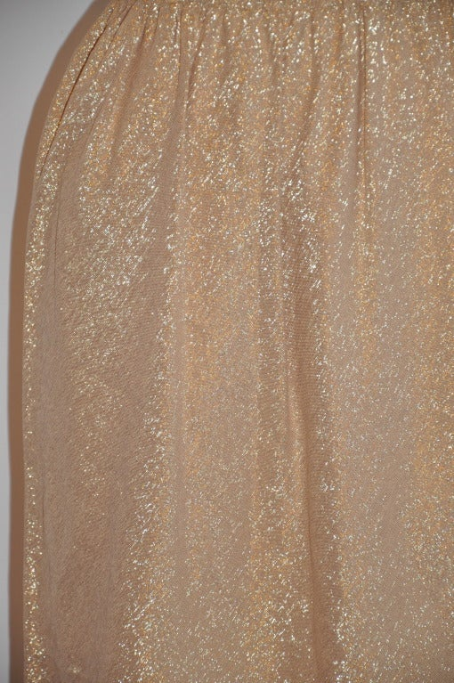 "Halston Metallic Gold Lame ""Point"" Evening Skirt 3"