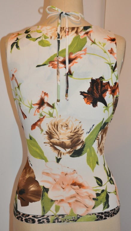 Roberto Cavalli Bold Floral Print Tank with Tie Back Feature 3