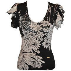 Roberto Cavalli Black & White Floral Stretch Pull-Over with Ruffled Sleeves Top