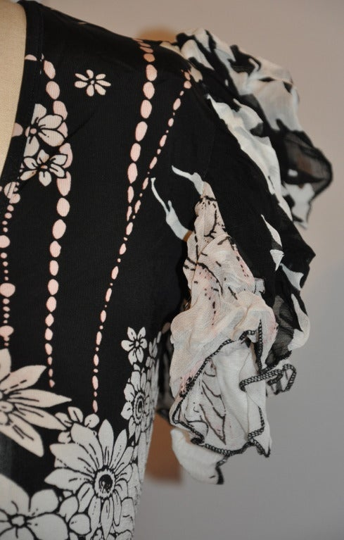 Roberto Cavalli Black & White Floral Stretch Pull-Over with Ruffled Sleeves Top 2