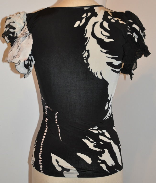 Roberto Cavalli Black & White Floral Stretch Pull-Over with Ruffled Sleeves Top 3