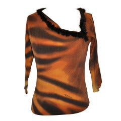 Roberto Cavalli Leopard Print with Mink Trim Stretch Pull-Over