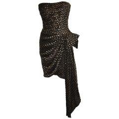 """Yves Saint Laurent Strapless Chiffon with Velvet """"Bow"""" Cocktail Dress"""