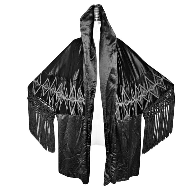 Victorian black silk opera coat