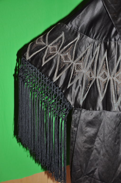 Women's or Men's Victorian black silk opera coat For Sale