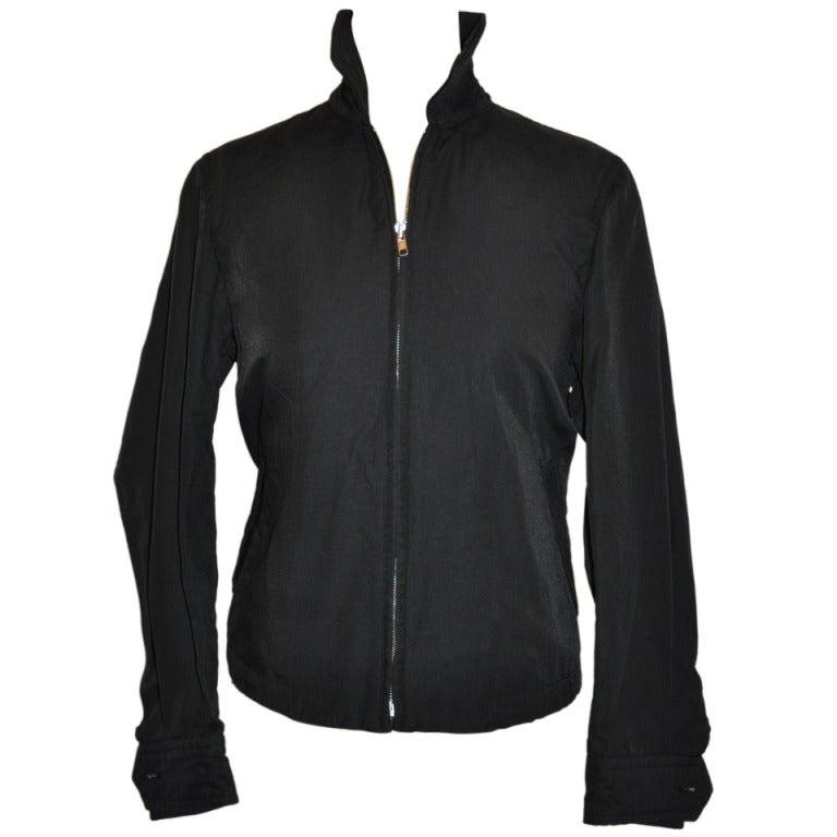 b9c810c6ee2 Commes des Garcon Zipper Jacket with Racer s Check Stripe Detailing For Sale
