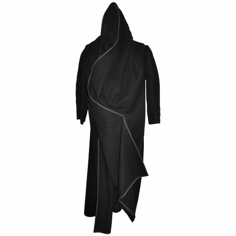 Comme des Garcon Black Oversized Deconstructed Wrap Coat For Sale