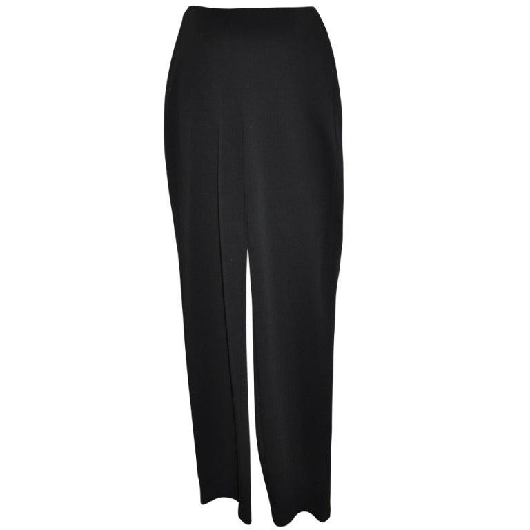Donna Karan Black Wool Jersey Trousers
