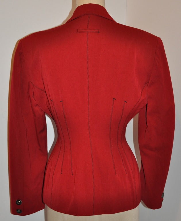 Red Jean Paul Gaultier with Black Leather Eyelet Detailing Blazer For Sale