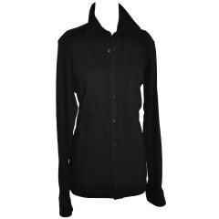 Dries Van Noten Men's Black Wool-Crepe Button Shirt