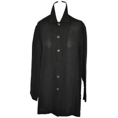 Philippe Adec Black Linen Smock-Style Jacket with Tags