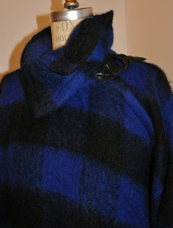 Yves Saint Laurent Navy & Black Mohair Cape Coat In Excellent Condition For Sale In New York, NY