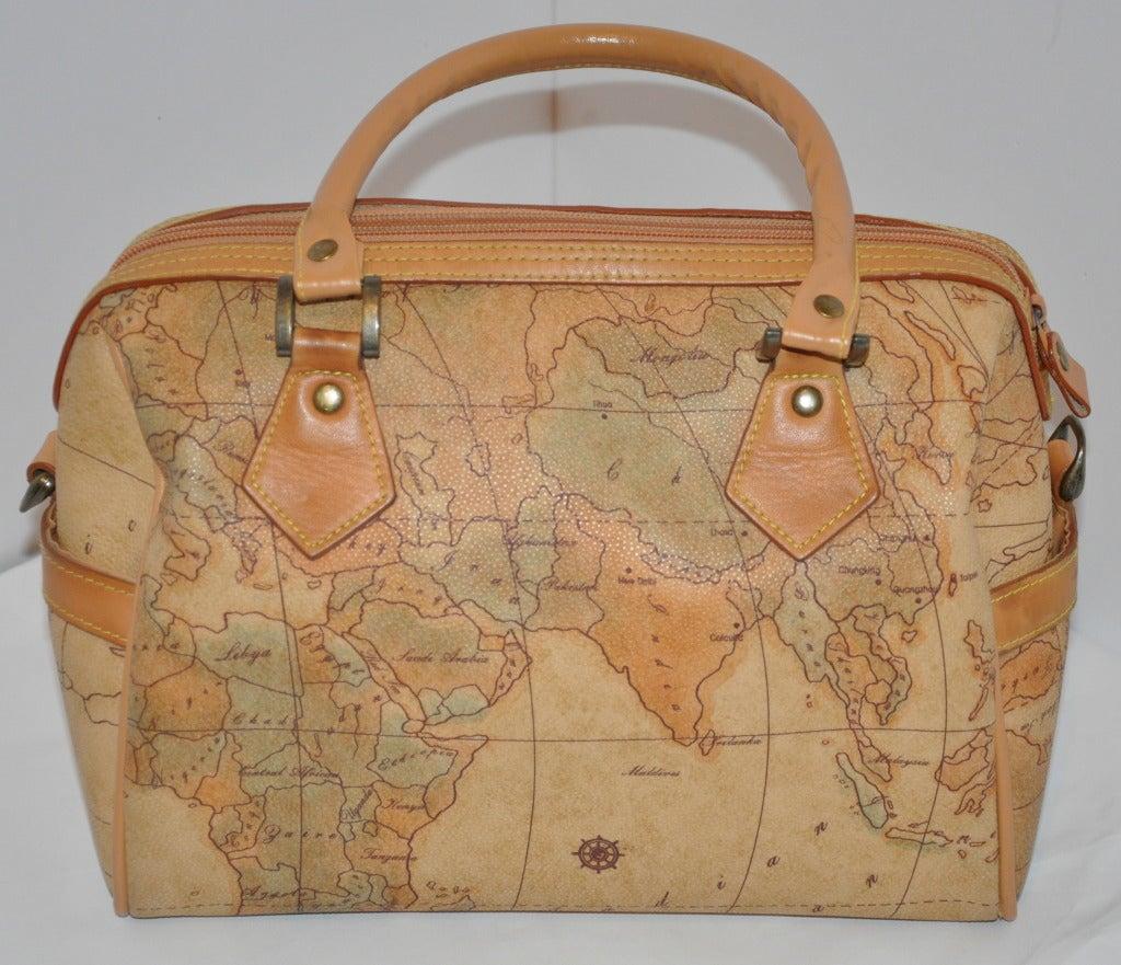 """Brown Allen Edward Embossed """"Map"""" Barrel Handbag For Sale"""