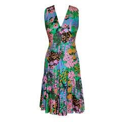 Mollie Parnis 'Boutique' floral silk dress w/scarf