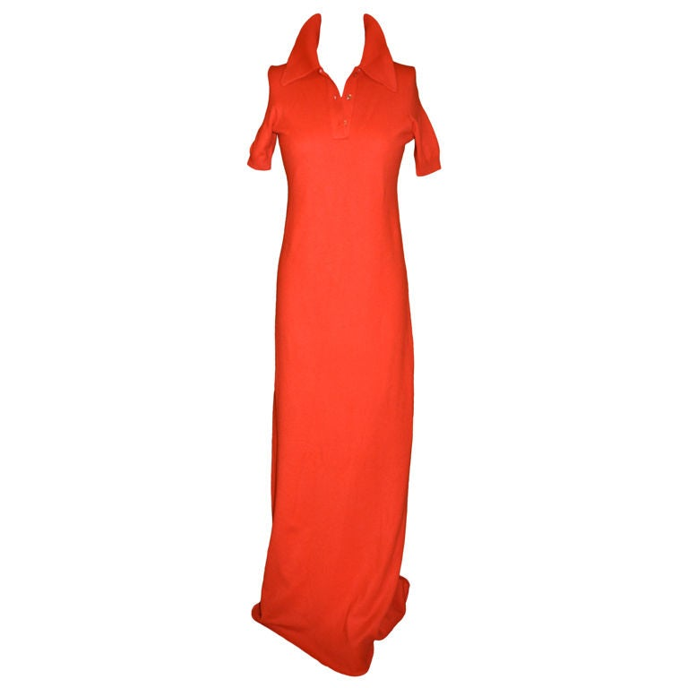 HALSTON Red Asymmetrical Bias Chiffon Gown with Jersey Cape Size 6 8 ...
