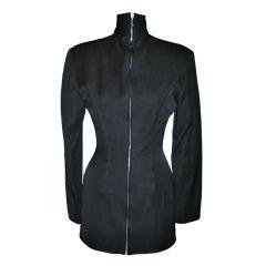 Rare Jean Paul Gaultier 'Gibo' black high-neck, detailed with boning mini dress