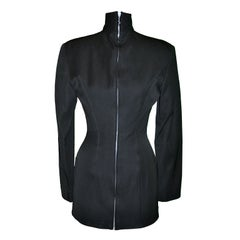 Rare Jean Paul Gaultier 'Gibo' black high-neck, detailed with boning mini dress