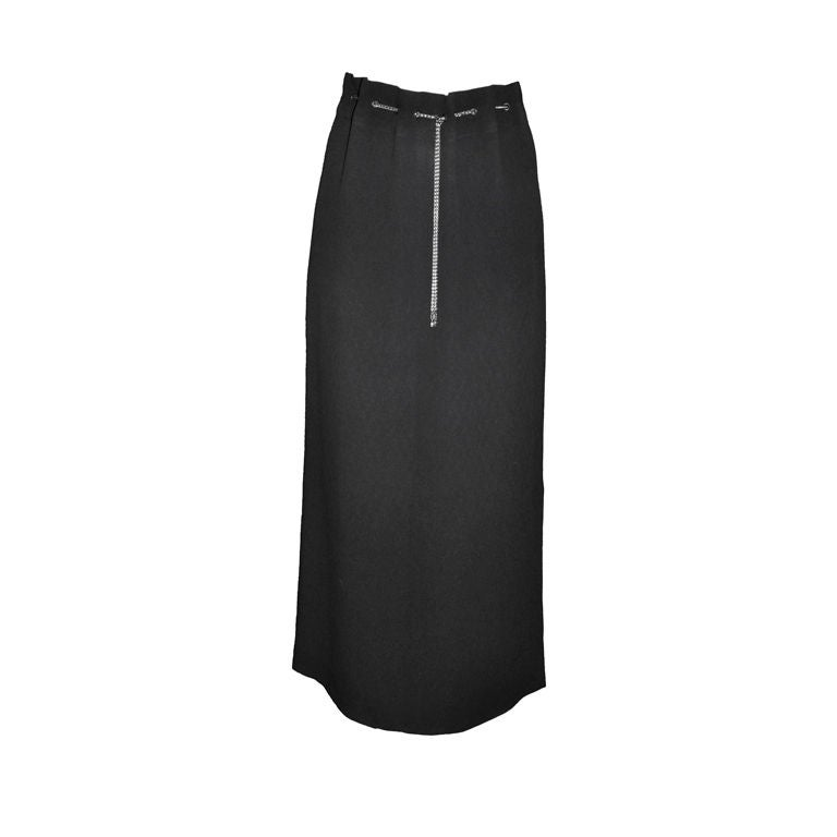 Chanel 'Boutique' Maxi skirt with Logo chain belt For Sale at 1stdibs