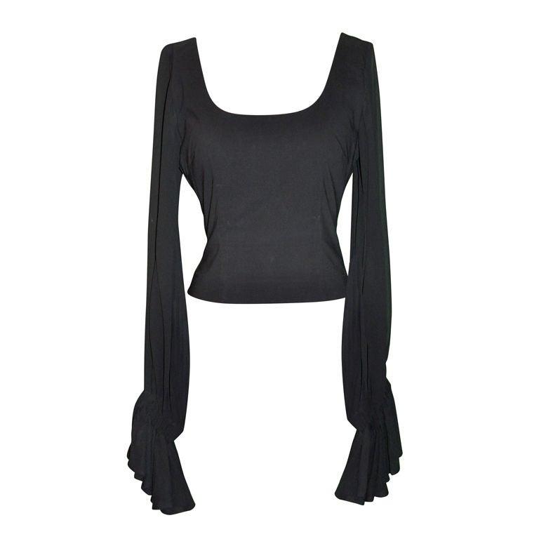 Dolce & Gabbana black ruffled sleeves top