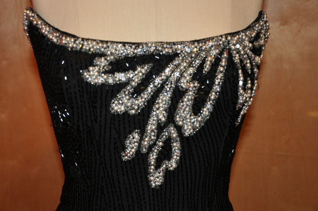 "Bob Mackie ""Boutique"" strapless sequins cocktail dress 4"