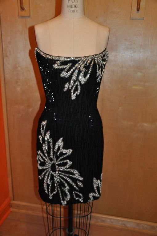 "Bob Mackie ""Boutique"" strapless sequins cocktail dress 2"