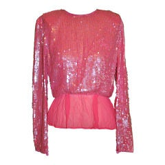 Victor Costa pink sequins top