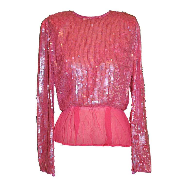 Victor Costa pink sequins top