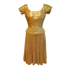 Gold lame with coral beans detailing 2-piece ensemble