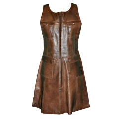 Brown leather patch pockets dress