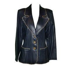 YSL Rive Gauche navy calfskin blazer with gold accents