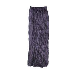 Issey Miyake plum panned-velvet skirt