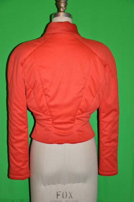 Red Mugler Neon Orange quilted zippered jacket For Sale