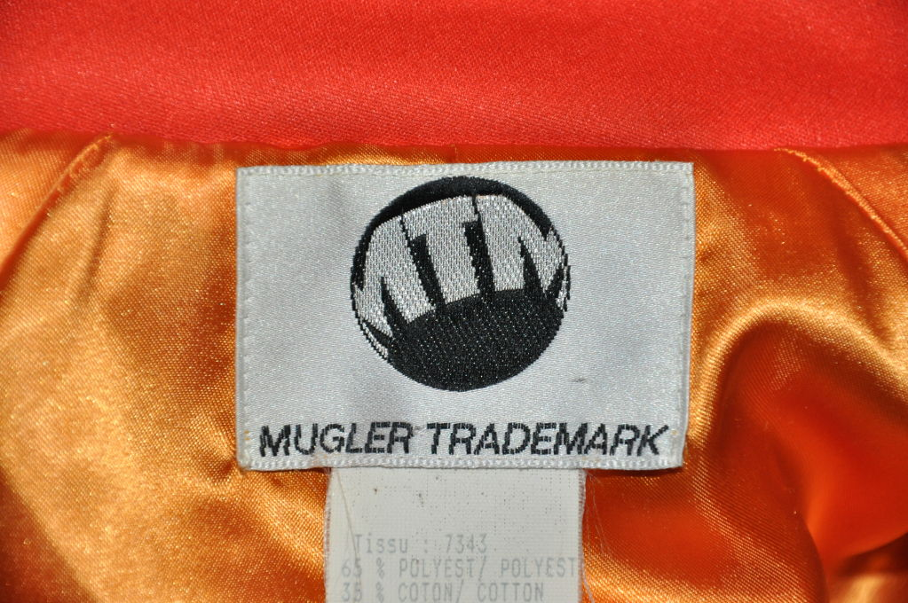 Mugler Neon Orange quilted zippered jacket In Good Condition For Sale In New York, NY