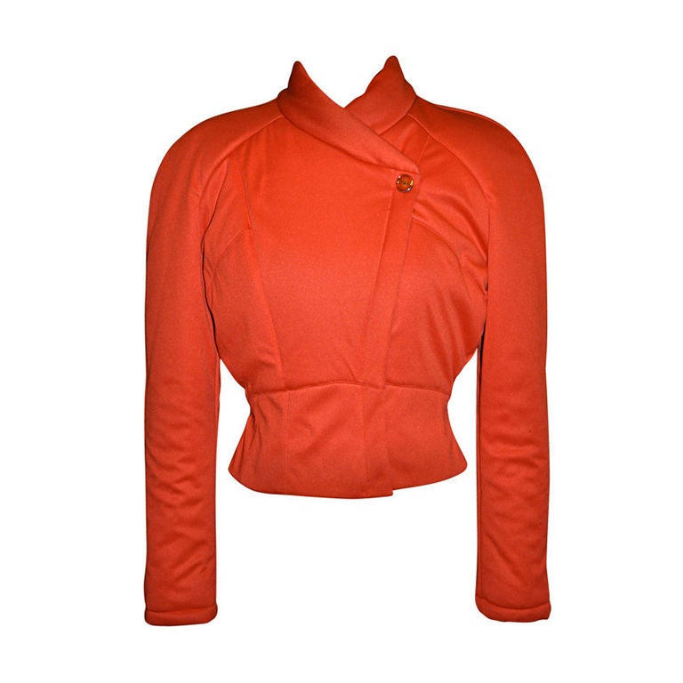 Mugler Neon Orange quilted zippered jacket For Sale