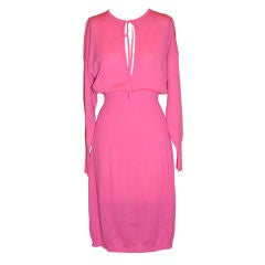 Angelo Tariazzi neon pink lightweight knitted dress