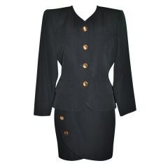 Yves Saint Laurent black wool wrap skirt suit