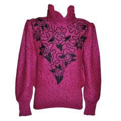 Gucci Fuchsia embroidered pullover turtleneck
