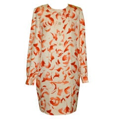 Bill Blass cream & burnt orange silk dress