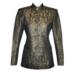 Alfred Sung Metallic gold and black evening jacket