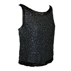 Bergdorf Goodman Black chiffon sequined tank