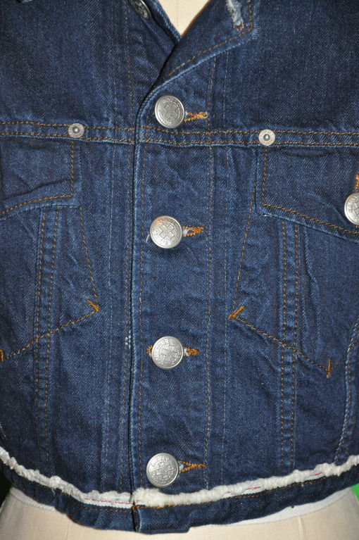 Jean Paul Gaultier denim crop jacket In Excellent Condition For Sale In New York, NY