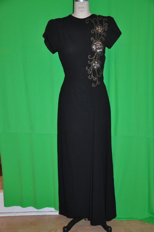 Vintage black crepe gown with embellishment 2