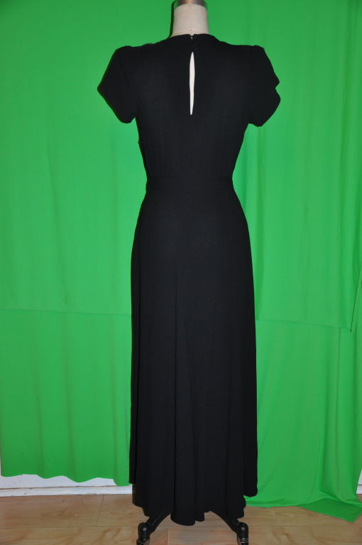 Vintage black crepe gown with embellishment 3