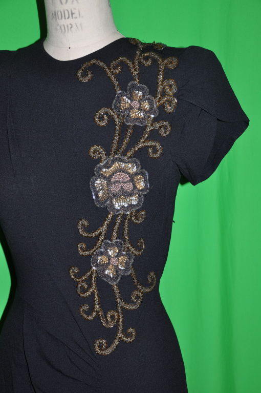 Vintage black crepe gown with embellishment 4