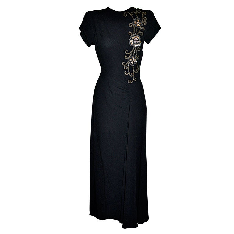 Vintage black crepe gown with embellishment 1