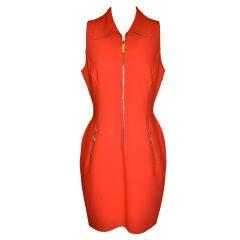 Donna Karan black-label Neon red zipper sheath dress